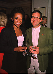 The High Commissioner for the Republic of South Africa H.E.MS.CHERYL CAROLUS and her husband MR GRAEME BLOCH, at a party in London on 23rd March 1998.MGI 10