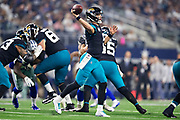 ARLINGTON, TX - OCTOBER 14:  Blake Bortles #5 of the Jacksonville Jaguars throws a pass during a game against the Dallas Cowboys at AT&T Stadium on October 14, 2018 in Arlington, Texas.  The Cowboys defeated the Jaguars 40-7.  (Photo by Wesley Hitt/Getty Images) *** Local Caption *** Blake Bortles