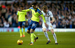 Tom Lawrence of Derby County takes on Eunan O'Kane of Leeds United - Mandatory by-line: Robbie Stephenson/JMP - 31/10/2017 - FOOTBALL - Elland Road - Leeds, England - Leeds United v Derby County - Sky Bet Championship