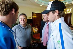 Grega Zemlja, Mark Umberger and Blaz Kavcic at Zoran Jankovic, major of Ljubljana after draw of Davis cup Slovenia vs South Africa competition on September 12, 2013 in City hall, Ljubljana, Slovenia. (Photo by Vid Ponikvar / Sportida.com)