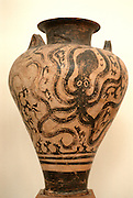 GREECE, NATIONAL MUSEUM, ATHENS 15TH B.C. Minoan Pottery from Herakleion  with an octopus motif decoration