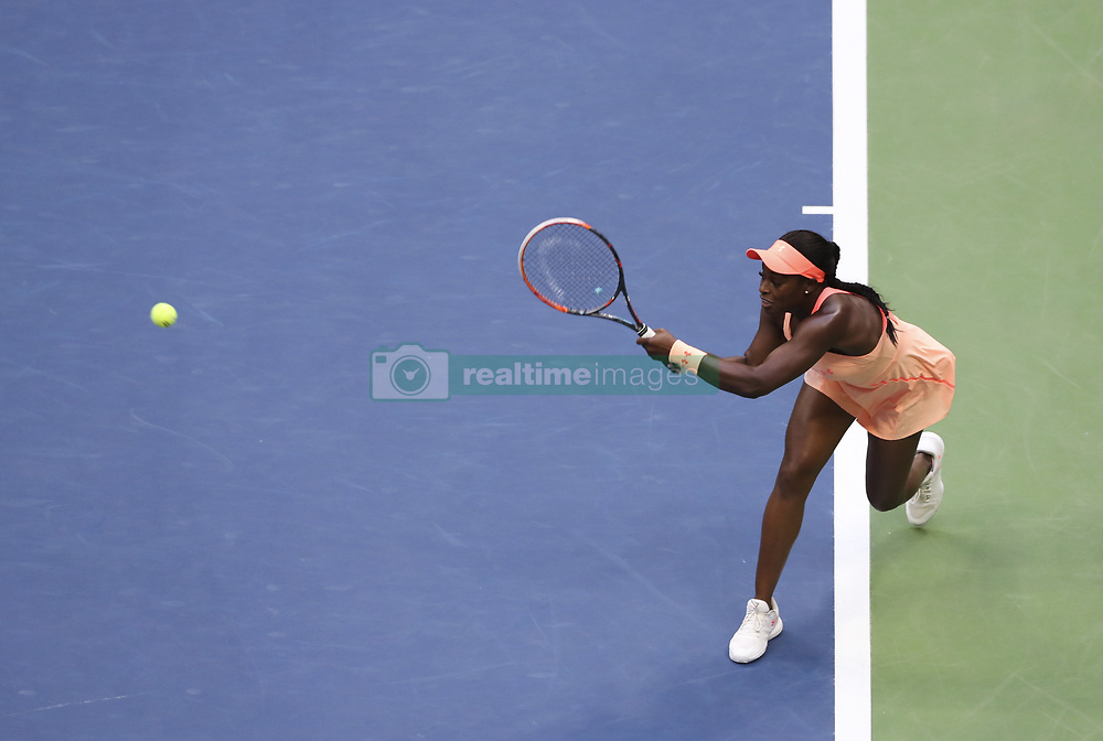 NEW YORK, Sept. 10, 2017  Sloane Stephens of the United States hits a return during the women's singles final match against to Madison Keys of the United States at the 2017 US Open in New York, the United States, Sept. 9, 2017. Sloane Stephens won 2-0 to claim the title. (Credit Image: © Wang Ying/Xinhua via ZUMA Wire)