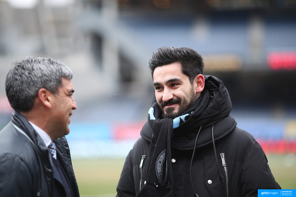 NEW YORK, NEW YORK - March 18: New York City FC Sporting Director Claudio Reyna, (left), with injured Manchester City player Ilkay Gundogan before the New York City FC Vs Montreal Impact regular season MLS game at Yankee Stadium on March 18, 2017 in New York City. (Photo by Tim Clayton/Corbis via Getty Images)