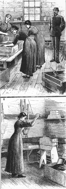 Nobel Explosives Company Limited, Ardeer, Ayrshire.   Top: Mixing house, with women rubbing Dynamite. Bottom: Woman filling cartridges with Dynamite using a  filling machine.  From 'The Illustrated London News', 16 April 1884