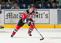 KELOWNA, CANADA - OCTOBER 10: Cole Martin #8 of the Kelowna Rockets skates on the ice as the Spokane Chiefs visit the Kelowna Rockets on October 10, 2012 at Prospera Place in Kelowna, British Columbia, Canada (Photo by Marissa Baecker/Shoot the Breeze) *** Local Caption ***