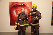 Firemen, Other,Riyas Komu and Peter Drake. - VIP  launch of Aicon. London's largest contemporary Indian art gallery. Heddon st. and afterwards ant Momo.15 Marc h 2007.  -DO NOT ARCHIVE-© Copyright Photograph by Dafydd Jones. 248 Clapham Rd. London SW9 0PZ. Tel 0207 820 0771. www.dafjones.com.