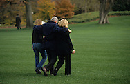 President Bill Clinton, First Lady Hillary Rodham Clinton and daughter Chelsea walk to Marine One  to go to Camp David for Thanksgiving on Novemer 17 1997...Photograph by Dennis Brack bb30