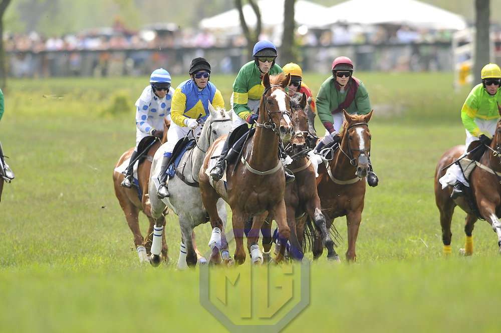03 May 2008:  Paddy Young aboard Hidden Key lead the other horses after taking a jump in the 2nd race of the 83rd running of the Virginia Gold Cup Races on October 20, 2007 at the Great Meadow in The Plains, Va..