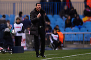 MADRID, SPAIN- FEBRUARY 24: Coach of Club Atletico de Madrid Diego Pablo Simeone reacts during the Liga BBVA between Atletico de Madrid and RCD Espanyol at the Vicente Calderon stadium on February 24, 2013 in Madrid, Spain. (Photo by Aitor Alcalde Colomer).