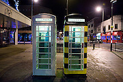 19 November 2013: KC cream telephone boxes in Carr Lane, Hull, East Yorkshire. Including a 'bee' telephone box.<br /> Picture: Sean Spencer/Hull News &amp; Pictures Ltd<br /> 01482 772651/07976 433960<br /> www.hullnews.co.uk   sean@hullnews.co.uk