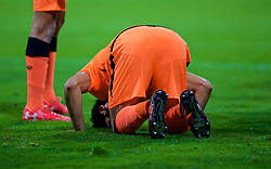MARIBOR, SLOVENIA - Tuesday, October 17, 2017: Liverpool's Mohamed Salah celebrates scoring the fourth goal by praying during the UEFA Champions League Group E match between NK Maribor and Liverpool at the Stadion Ljudski vrt. (Pic by David Rawcliffe/Propaganda)