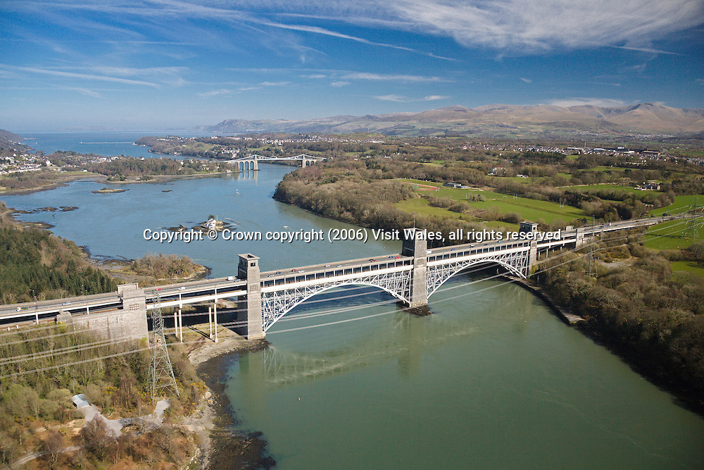Britannia Bridge (in foreground) &amp; Menai Bridge (background)<br />