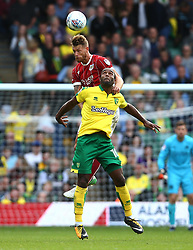 Nathan Baker of Bristol City beats Cameron Jerome of Norwich City to a header - Mandatory by-line: Robbie Stephenson/JMP - 23/09/2017 - FOOTBALL - Carrow Road - Norwich, England - Norwich City v Bristol City - Sky Bet Championship