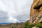 Andy Merriman on the first ascent of Rabble, Rabble 5.11, Five Fingers of Eden Wall, Khognoo Khaan National Park, Mongolia