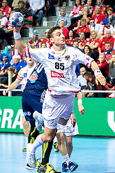 12.05.2017, Zatika Sport Centre, Porec, CRO, EHF EM, Herren, Österreich vs Frankreich, Gruppe B, im Bild Lukas Herburger (AUT) // during the preliminary round, group B match of the EHF men's Handball European Championship between Austria and France at the Zatika Sport Centre in Porec, Croatia on 2017/05/12. EXPA Pictures © 2018, PhotoCredit: EXPA/ Sebastian Pucher