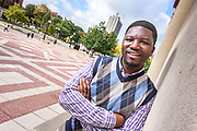 ANN ARBOR, MICHIGAN - USA -  SEPTEMBER 20, 2017: Oliver Jintha Gadabu, a doctoral student at the University of Michigan, poses for a portrait on Campus Wednesday, September 20, 2017. (Photo by Bryan Mitchell)
