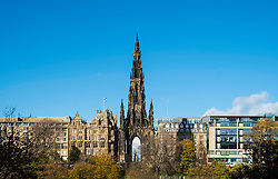 View of Walter Scott Monument on Princes Street in Edinburgh, Scotland, United Kingdom.