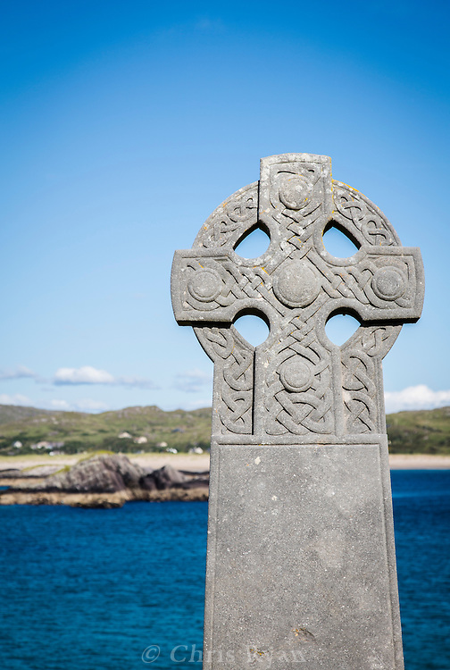Celtic cross tombstone on Abbey Island, Derrynane, County Kerry, Ireland
