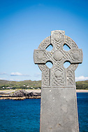 Celtic cross tombstone on Abbey Island, Derrynane, County Kerry, Ireland