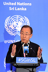 COLOMBO, Sept. 3, 2016 (Xinhua) -- UN Secretary-General Ban Ki-moon speaks at a press conference in Colombo, Sri Lanka, Sept. 2, 2016. Ban Ki-moon on Friday called for credible process to address issues related to the war in Sri Lanka when he visited the island nation. The UN Chief who was in Sri Lanka for a two-day official visit told journalists in Colombo that Sri Lanka had made ''great progress'' since his last visit in 2009, but the island nation still faced a lot of challenging issues, even seven years after the war. (Xinhua/Gayan Sameera).****Authorized by ytfs* (Credit Image: © Gayan Sameera/Xinhua via ZUMA Wire)