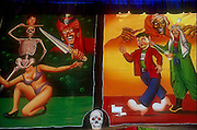 Two circus posters at  fair in New Delhi during the festival month of October. .