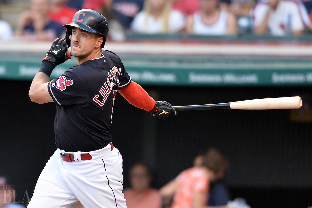 Aug 1, 2016; Cleveland, OH, USA; Cleveland Indians right fielder Lonnie Chisenhall (8) hits a two-run double during the first inning against the Minnesota Twins at Progressive Field. Mandatory Credit: Ken Blaze-USA TODAY Sports