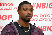 Noah Lyles during a  press conference prior to the New Balance Indoor Grand Prix in Boston on Friday, Feb. 9, 2018.