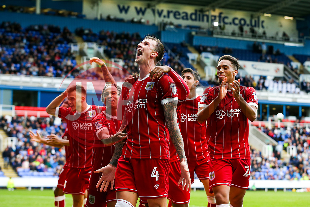 Aden Flint of Bristol City celebrates scoring a goal to make it 0-1 - Rogan/JMP - 09/09/2017 - Madejski Stadium - Reading, England - Reading v Bristol City - Sky Bet Championship.
