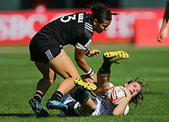DUBAI, UNITED ARAB EMIRATES - Thursdays 30 November 2017, Jackie Kriel of South Africa is tackled by Stacey Waaka of New Zealand during HSBC Emirates Airline Dubai Rugby Sevens match between South Africa and New Zealand at The Sevens Stadium in Dubai.<br /> Photo by Roger Sedres/ImageSA