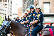 Jul 20, 2016; Cleveland, OH, USA; Mounted police wait in downtown Cleveland at the site of the Republican National Convention.
