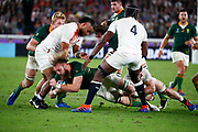 RG Snyman of South Africa is tackled, Billy Vunipola, Maro Itoje of England during the World Cup Japan 2019, Final rugby union match between England and South Africa on November 2, 2019 at International Stadium Yokohama in Yokohama, Japan - Photo Yuya Nagase / Photo Kishimoto / ProSportsImages / DPPI