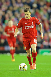 LIVERPOOL, ENGLAND - Thursday, February 25, 2016: Liverpool's Philippe Coutinho Correia in action against FC Augsburg during the UEFA Europa League Round of 32 1st Leg match at Anfield. (Pic by David Rawcliffe/Propaganda)