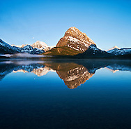 Mount Grinnell Reflected in Swiftcurrent Lake at Sunrise - Many Glaciers, Glacier National Park