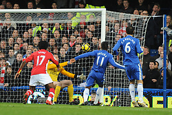 LONDON, ENGLAND - Sunday, February 7, 2010: Chelsea's Didier Drogba scores the opening goal during the Premiership match at Stamford Bridge. (Photo by Chris Brunskill/Propaganda)
