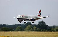 Photo: Chris Ratcliffe.<br />England arrival at Baden Airpot. 05/06/2006.<br />England's plane lands at Baden Baden.