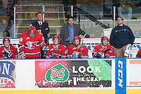 KELOWNA, CANADA - MARCH 7: Don Nachbaur, head coach and Scott Burt, assistant coach of the Spokane Chiefs stand on the bench at the Kelowna Rockets on March 7, 2015 at Prospera Place in Kelowna, British Columbia, Canada.  (Photo by Marissa Baecker/Shoot the Breeze)  *** Local Caption *** Don Nachbaur; Scott Burt;