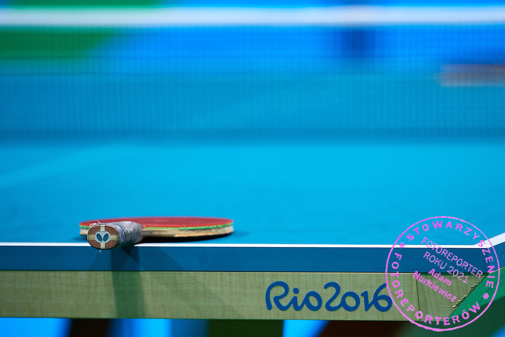 Rio de Janeiro, Brazil - 2016 September 03: Rocket lies on the table during table tennis training session in Riocentro Pavilion 3 while 2016 Summer Paralympic Games on September 03, 2016 in Rio de Janeiro, Brazil.<br /> Rio 2016 Paralympic Games will be held from September 7 until 18.<br /> <br /> Adam Nurkiewicz declares that he has no rights to the image of people at the photographs of his authorship.<br /> <br /> Picture also available in RAW (NEF) or TIFF format on special request.<br /> <br /> Any editorial, commercial or promotional use requires written permission from the author of image.<br /> <br /> Mandatory credit:<br /> Photo by &copy; Adam Nurkiewicz / Mediasport