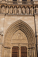 France Paris. 4th. Cathedral Notre Dame de Paris main Front door, and above the king of Israel gallery