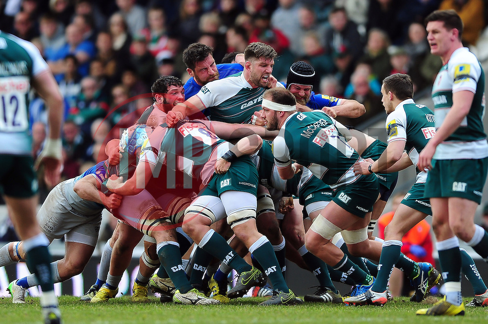 Mike Fitzgerald of Leicester Tigers in action at a maul - Mandatory byline: Patrick Khachfe/JMP - 07966 386802 - 20/03/2016 - RUGBY UNION - Welford Road - Leicester, England - Leicester Tigers v Saracens - Aviva Premiership.