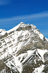 Canada: Winter in the Rockies.  View of Sulphur Mtn near Banff.  Photo #: canwin105..Photo copyright Lee Foster, 510/549-2202, lee@fostertravel.com, www.fostertravel.com