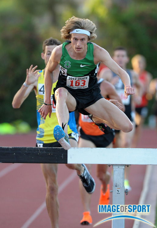 May 18, 2012; Los Angeles, CA, USA; Evan Jager hurdles a barrier in the steeplechase in the 2012 USATF High Performance meet at Occidental College.