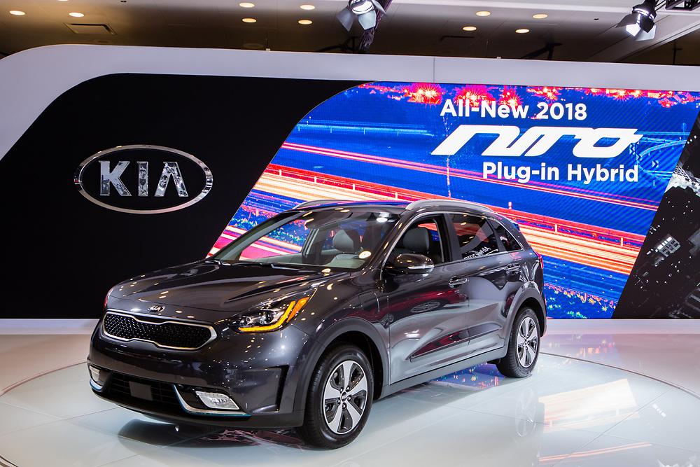 New York, NY - 12 April 2017. The KIA Niro, a hybrid gasoline/electric plug-in car.