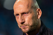 Feyenoord manager, Jaap Stam speaks to the media before the Europa League match between Rangers FC and Feyenoord Rotterdam at Ibrox Stadium, Glasgow, Scotland on 19 September 2019.