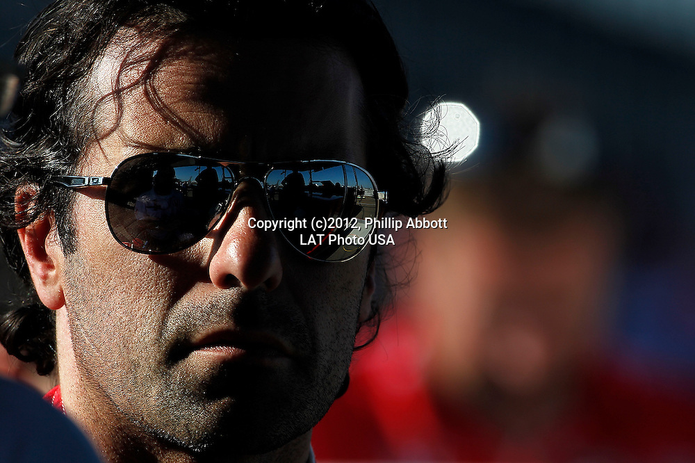 20-22 July, 2012, Edmonton, Alberta CA<br /> Dario Franchitti talks with his Honda engineer.<br /> (c)2012, Phillip Abbott<br /> LAT Photo USA
