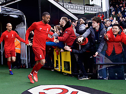 LONDON, ENGLAND - Sunday, March 17, 2019: Liverpool's Georginio Wijnaldum runs out for the the pre-match warm-up before the FA Premier League match between Fulham FC and Liverpool FC at Craven Cottage. (Pic by David Rawcliffe/Propaganda)