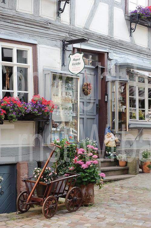 Souvenirgeschäft, Altstadt, Michelstadt, Odenwald, Naturpark Bergstraße-Odenwald, Hessen, Deutschland | souvenir shop, old town, Michelstadt, Odenwald, Hesse, Germany