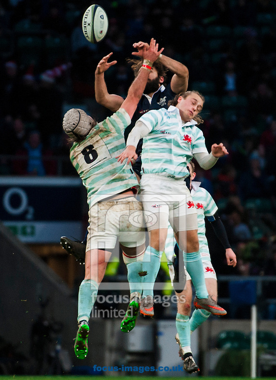Ed David of Oxford University goes up for a high ball with Nic Roberts-Huntley and Henry Lamont of Oxford University during the The Mens Varsity Match match at Twickenham Stadium, Twickenham<br /> Picture by Jack Megaw/Focus Images Ltd +44 7481 764811<br /> 10/12/2015