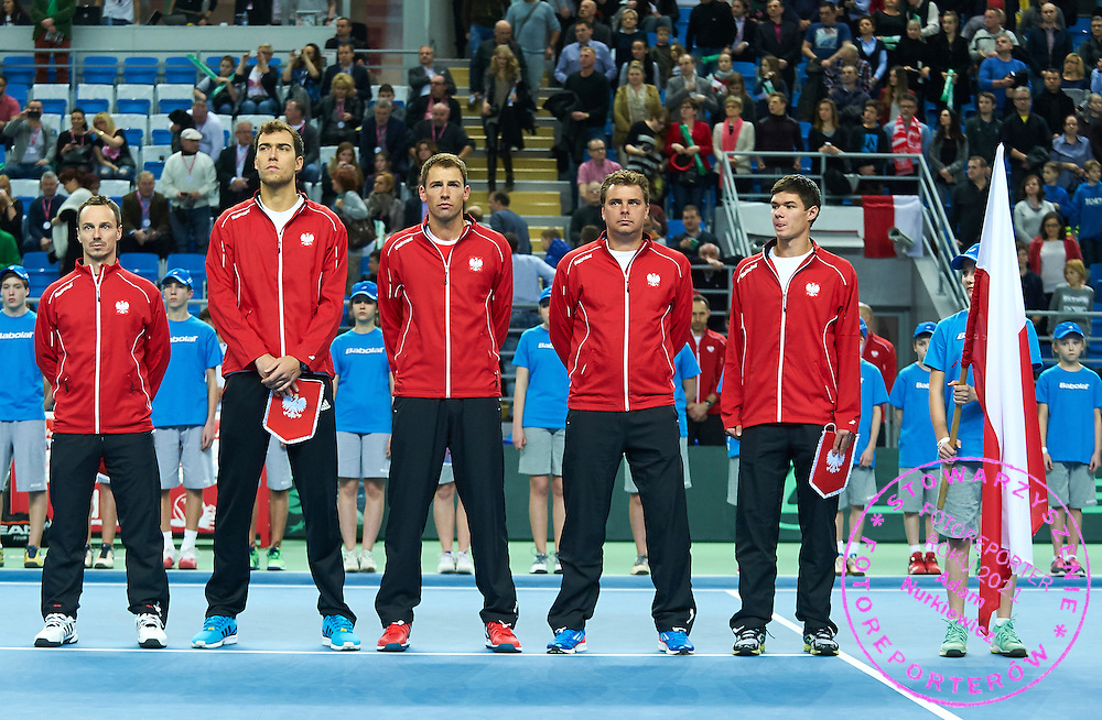 (L-R) Radoslaw Szymanik - captain national team and Jerzy Janowicz and Lukasz Kubot andMarcin Matkowski and Kamil Majchrzak all from Poland during first day the Davies Cup / Group I Europe / Africa 1st round tennis match between Poland and Lithuania at Orlen Arena on March 6, 2015 in Plock, Poland<br /> Poland, Plock, March 6, 2015<br /> <br /> Picture also available in RAW (NEF) or TIFF format on special request.<br /> <br /> For editorial use only. Any commercial or promotional use requires permission.<br /> <br /> Mandatory credit:<br /> Photo by &copy; Adam Nurkiewicz / Mediasport