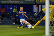 Portsmouth Forward, Curtis Main (14) hits the post with a shot at goal during the EFL Trophy match between Portsmouth and Crawley Town at Fratton Park, Portsmouth, England on 3 October 2017. Photo by Adam Rivers.