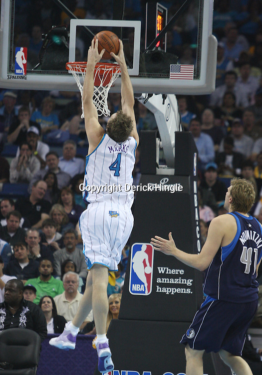 05 March 2009: New Orleans Hornets forward Sean Marks (4) dunks during a NBA game between the New Orleans Hornets and the Dallas Mavericks at the New Orleans Arena in New Orleans, Louisiana.